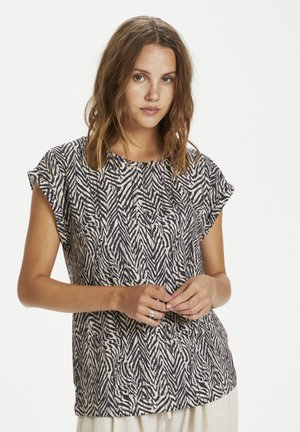Print T-shirt - ombre blue zig zebra