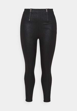 GLITTER ZIP HIGH WAIST SHAPER  - Leggings - black