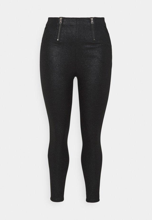 GLITTER ZIP HIGH WAIST SHAPER  - Leggings - Trousers - black