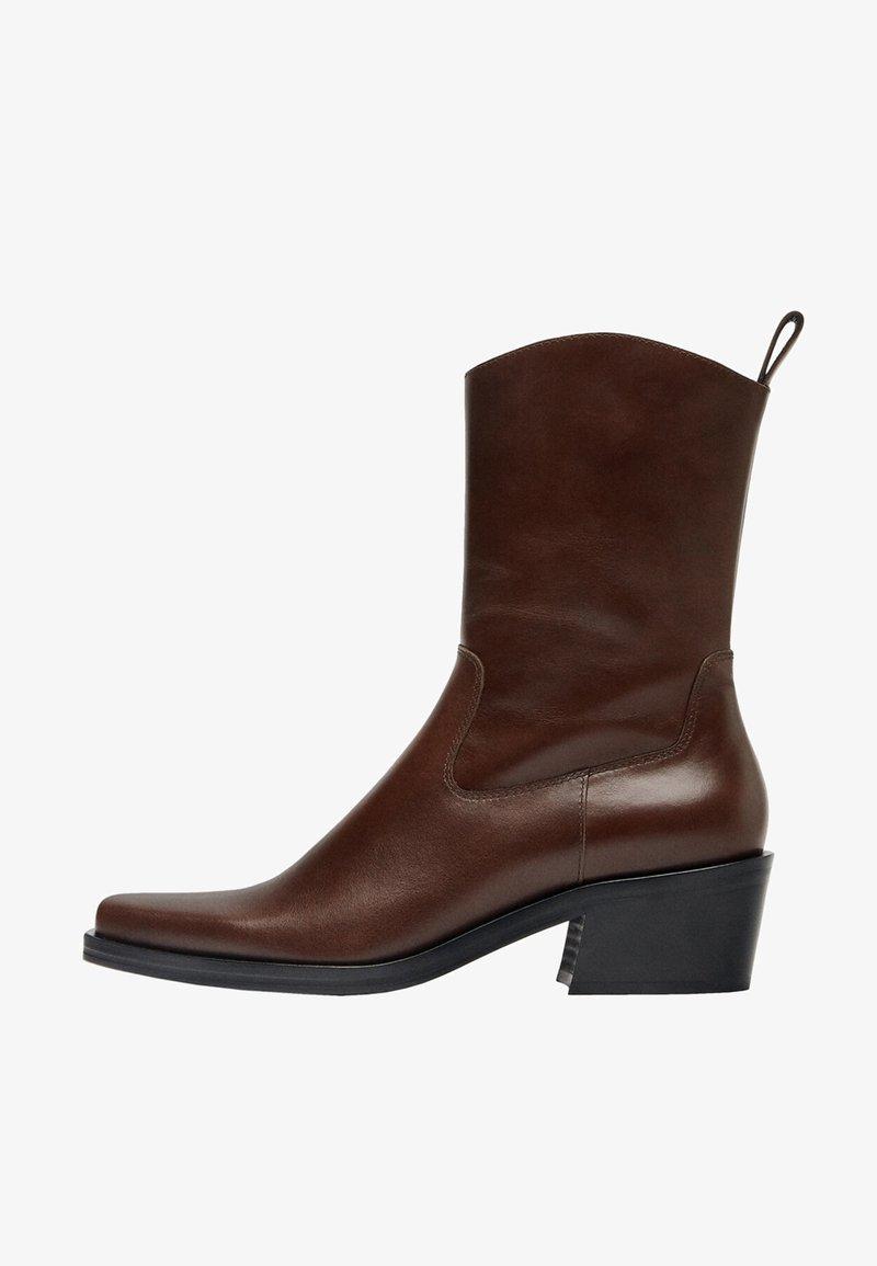 Uterqüe - FLACHE - Cowboy/biker ankle boot - brown