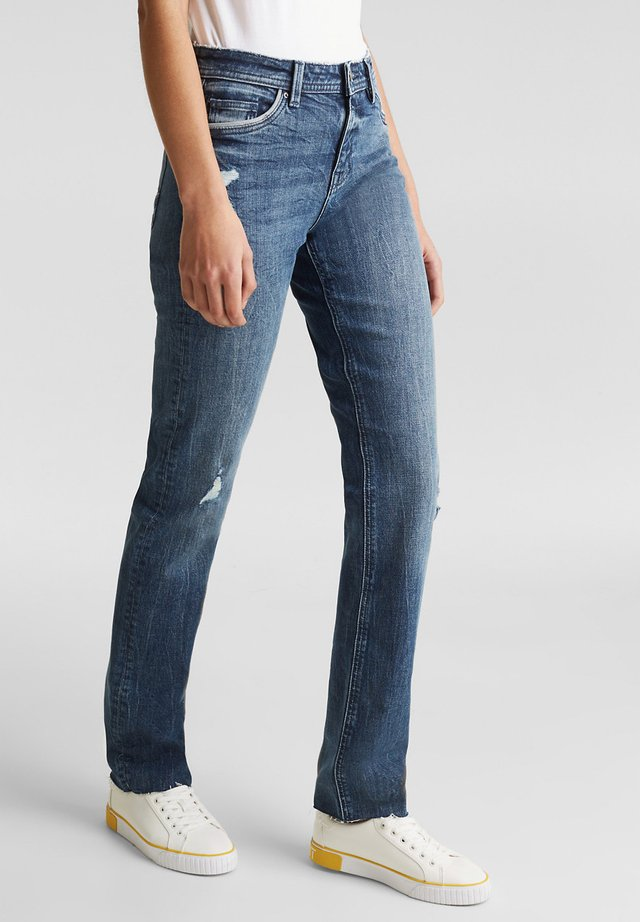 MIT PIPINGS - Jeans Straight Leg - blue medium washed