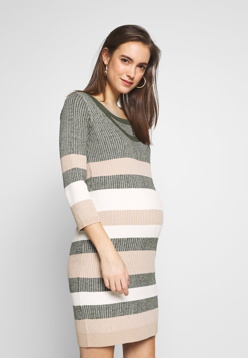 MAMALICIOUS - MLSAFFY SHORT DRESS - Jumper dress - dusty olive/snow white