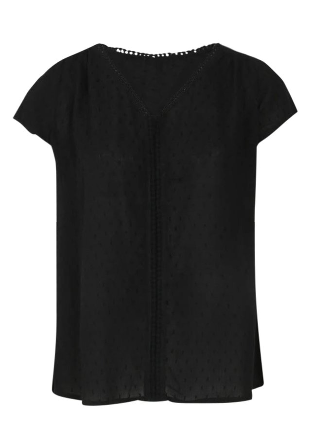 MIT STICKEREI - Blouse - black