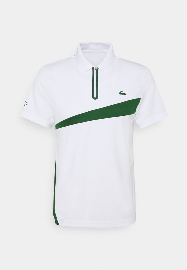 TENNIS ZIP - Polo - white/green