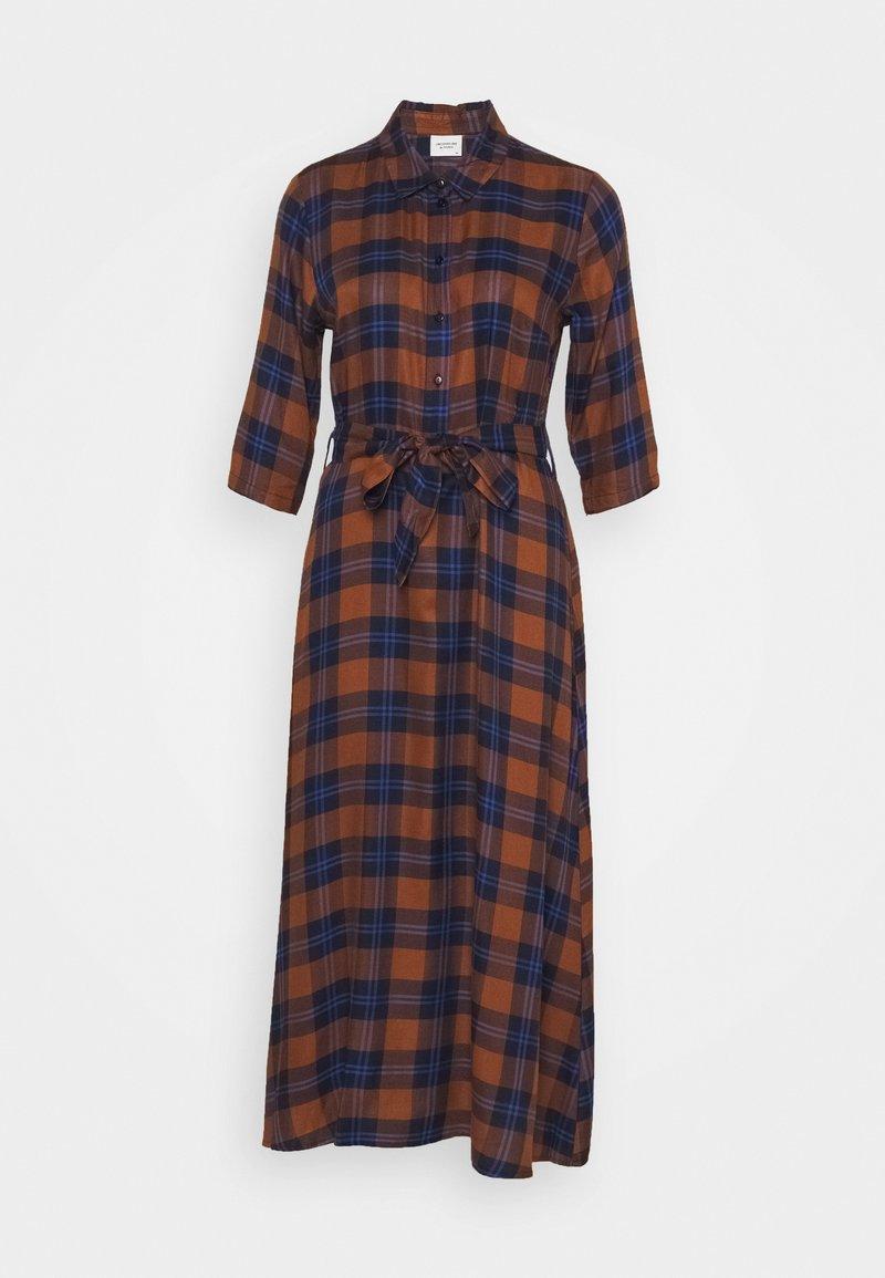 JDY - JDYSTAY MIDCALF DRESS - Košilové šaty - brown/blue