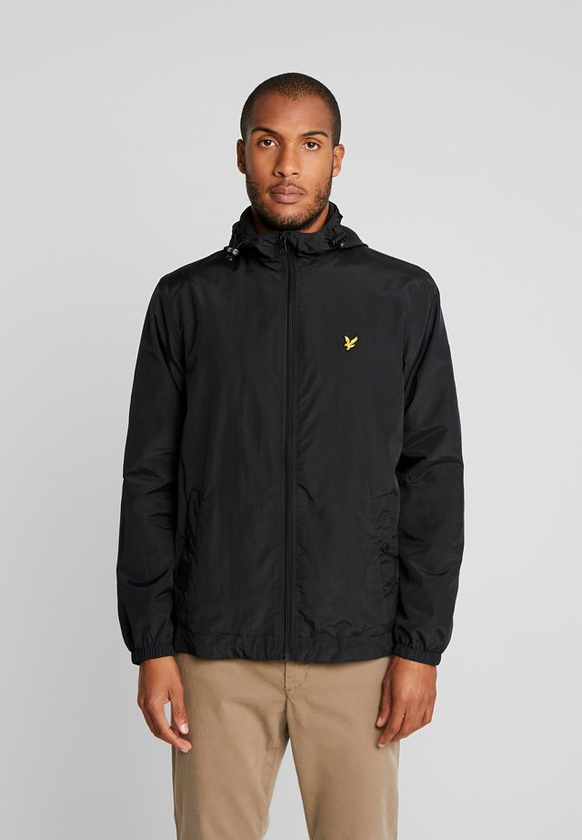 ZIP THROUGH HOODED JACKET - Lehká bunda - jet black