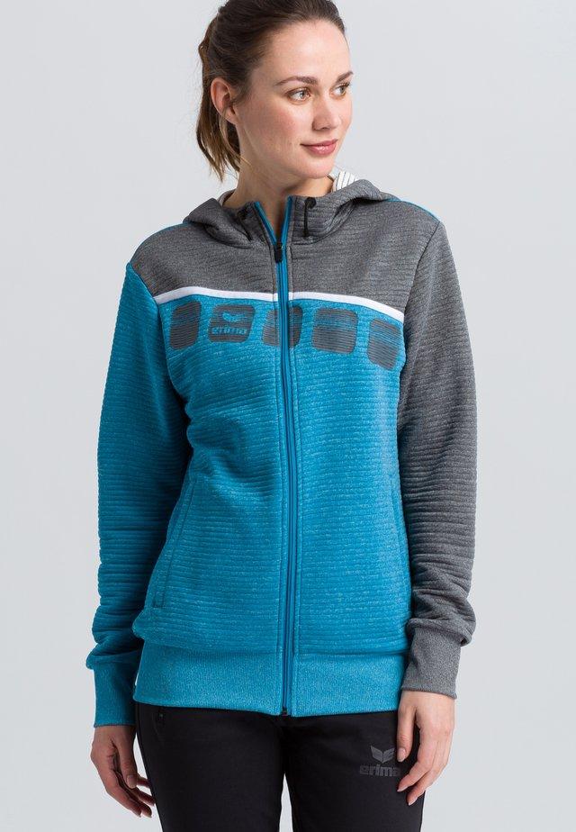 Zip-up hoodie - blue/grey/white