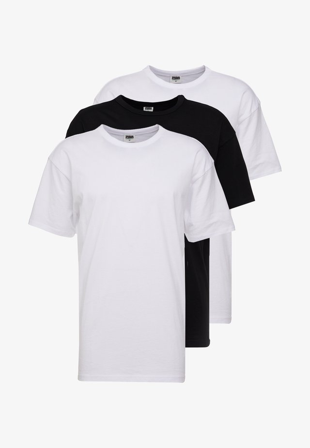 ORGANIC BASIC TEE 3 PACK - T-paita - white/black