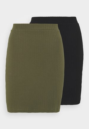 2 PACK - Mini skirt - black/khaki