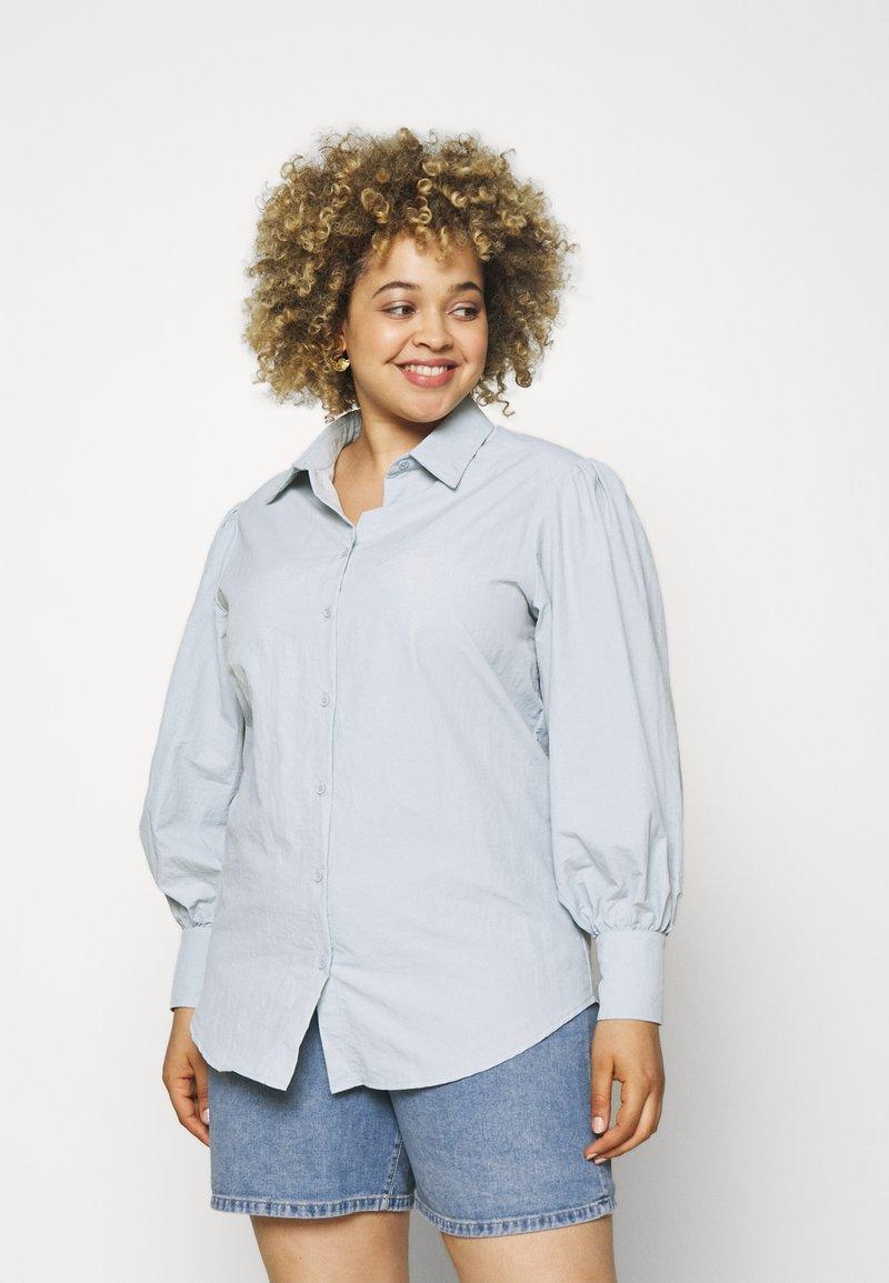 Missguided Plus - SLEEVE SHIRT - Button-down blouse - blue