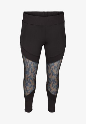 CROPPED MIT PRINTDETAILS - Leggings - black
