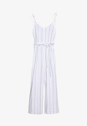 TIE SHOULDER BARE - Jumpsuit - white/blue