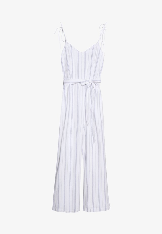 TIE SHOULDER BARE - Jumpsuit - white/blue