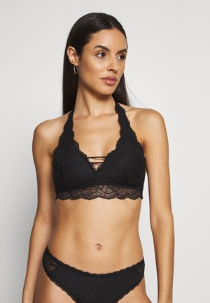 FLORAL HALTER - Triangle bra - black