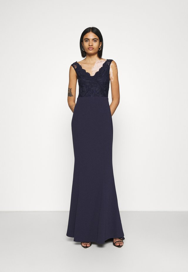 WRAP LACE MERMAID GOWN - Iltapuku - navy