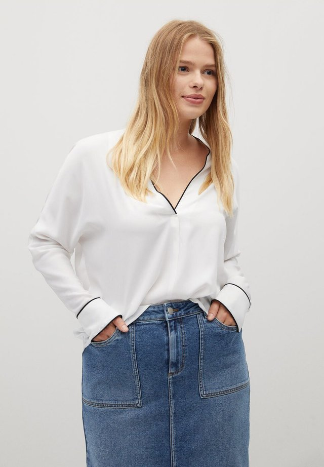 PIPING - Blouse - cremeweiß