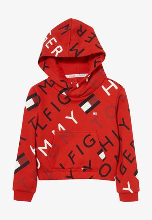 SPORTS PRINTED LOGO HOODIE - Mikina s kapucí - red