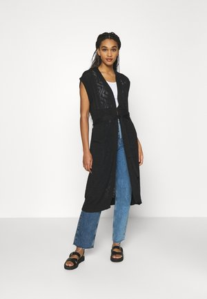 VILESLY LONG KNIT VEST - Cardigan - black