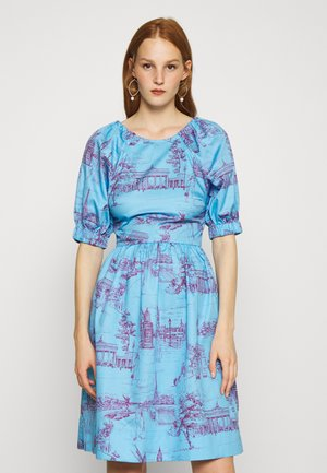CUT OUT BACK DRESS - Day dress - toile blue/burgundy