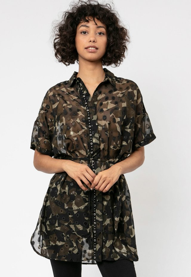 Shirt dress - mottled dark green
