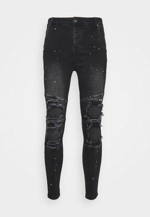 RIOT BIKER - Jeans Skinny Fit - washed black