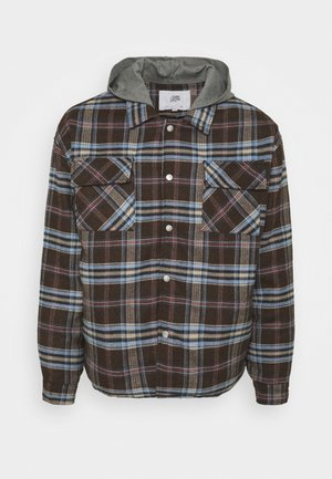 OVERSIZE TARTAN WITH HOOD - Light jacket - dark brown