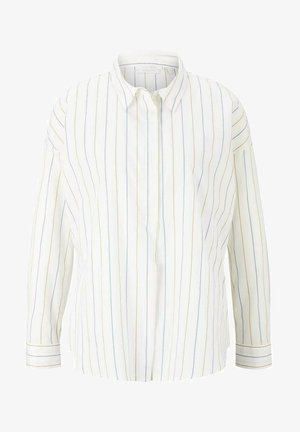 Overhemdblouse - small creme blue yellow stripe