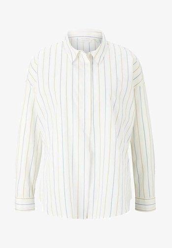Button-down blouse - small creme blue yellow stripe