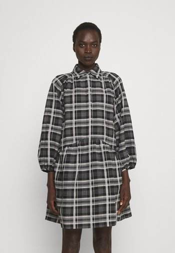 PUFF SHIRT DRESS - Shirt dress - black/white