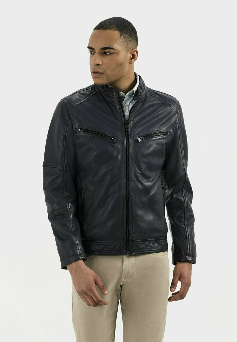 camel active - Leather jacket - navy