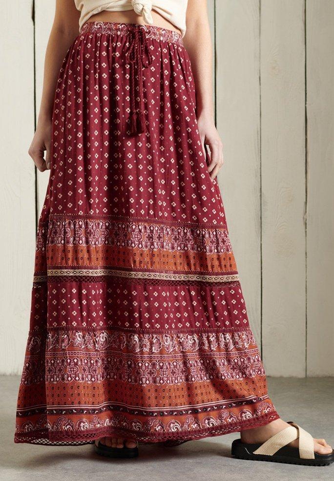 Superdry - AMIRA  - Pleated skirt - rust print