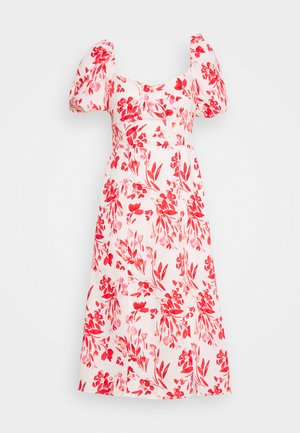 PUFF NECK MIDI SHEATH PRINT - Robe d'été - white