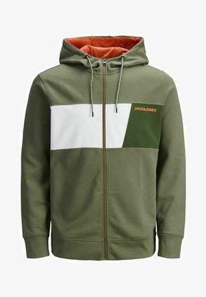 Zip-up hoodie - deep lichen green