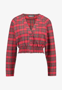 Missguided - SHEERED WAIST LONG SLEEVED CHECK - Blouse - red - 3