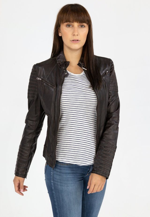 Leather jacket - aubergine