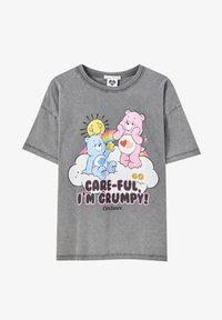 PULL&BEAR - Print T-shirt - mottled dark grey - 4