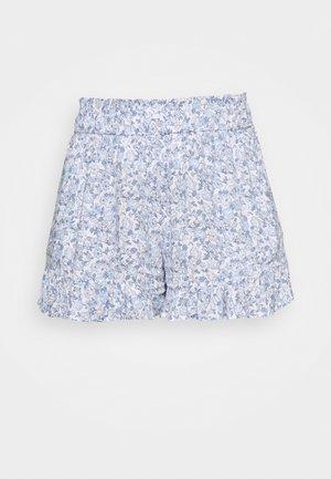 CHAIN RUFFLE HEM - Shorts - white/blue