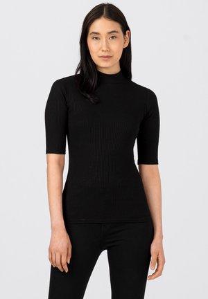 BASIC-RIPP MIT TURTLENECK - Basic T-shirt - schwarz