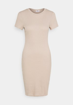 ESENTIAL SHORT SLEEVE BODYCON MIDI DRESS - Shift dress - brown