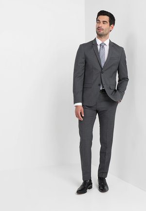 WOOL NATURAL STRETCH FITTED SUIT - Kostym - asphalt