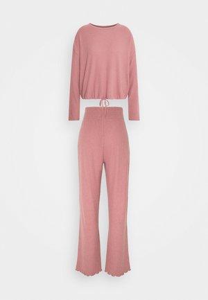 DRAW CORD CREW WIDE LEG PANT - Pyjama - mocha moose marle