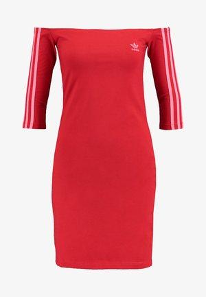 ADICOLOR OFF SHOULDER DRESS - Shift dress - scarlet