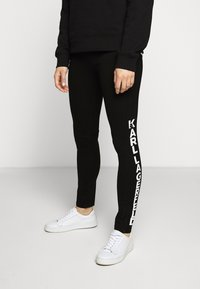 KARL LAGERFELD - PUNTO LOGO - Leggings - Trousers - black - 0