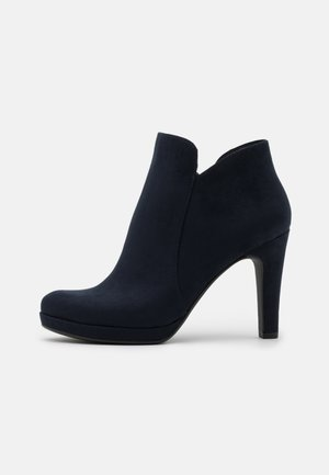 High heeled ankle boots - navy