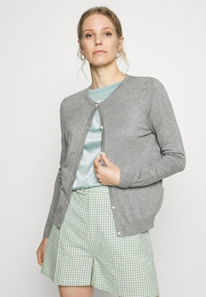 BASIC- PEARL BUTTON CARDIGAN - Chaqueta de punto - mottled grey