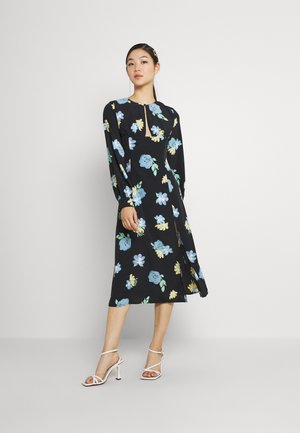 MIDAXI DRESS WITH PUFF LONG SLEEVES ROUND NECKLINE CUT-OUT FRONT - Day dress - blue