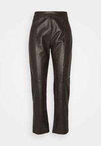 ARIELLA - Leather trousers - dunkel braun