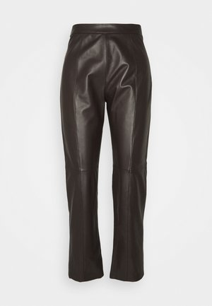 ARIELLA - Leather trousers - dunkel braun