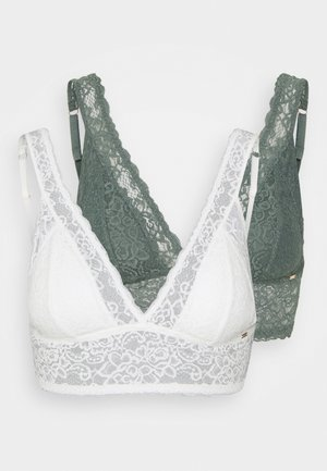 LANA 2 PACK  - Triangle bra - green/ivory