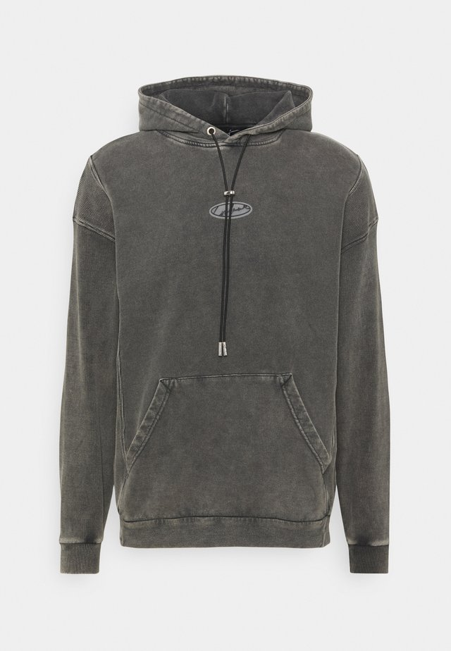 HOODIE WITH PANEL AND TRANSPARENT LABEL - Sweatshirt - grey
